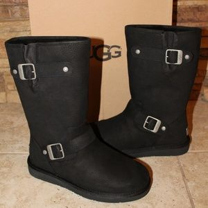 UGG SUTTER MOTO LEATHER BUCKLE BOOTS